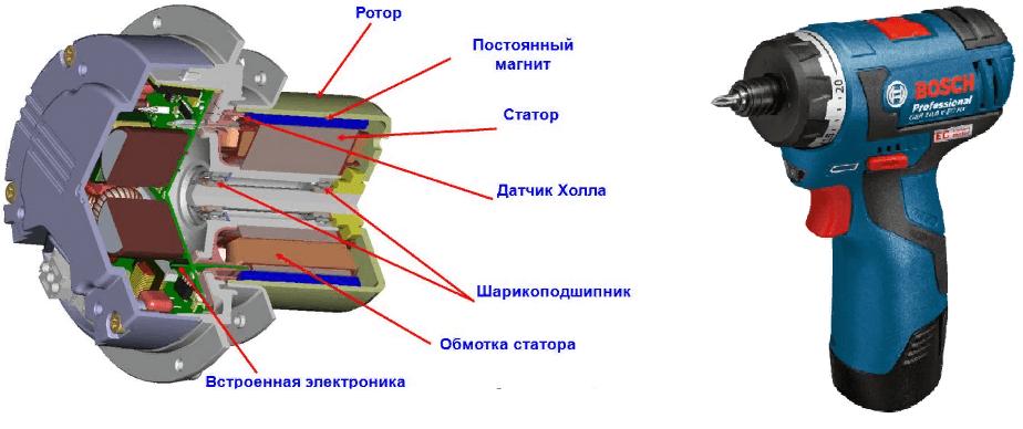 Схема бесщеточного двигателя шуруповерта фото